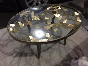 Gold leaf coffee table with glass top
