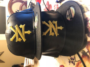 Black leather rapper caps