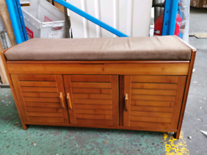 Brand new 90cm Bamboo 3 doors shoe cabinet bench