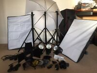 Studio lighting kit with 3 x 180w heads and accessories