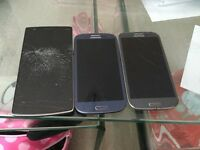 One plus one mobile phone and 2 Samsung s3 phones , all faulty