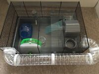 Nearly new large hamster cage and accessories
