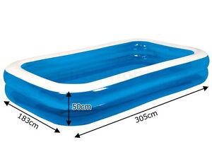 Large Inflatable Giant Rectangular Family Garden Paddling Swimming Pool Fun Ebay