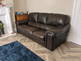 3 Seater Dark Leather Sofa