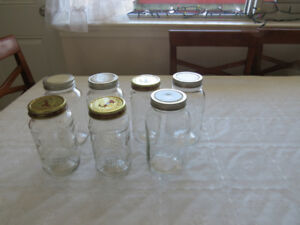 7 large Mason jars with covers