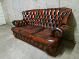 FREE DELIVERY 🚚 Stunning Ox Blood Red Chesterfield 3 seater Sofa, Cou