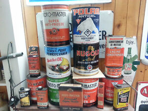 Lots of Vintage Moto Master/Canadian Tire Oil Cans