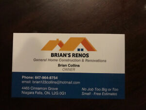 BRIANS RENOS no job to big or to small 647 964 8754