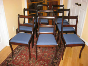 8 Refinished Antique / Vintage Solid Wood Dining Chairs. Table