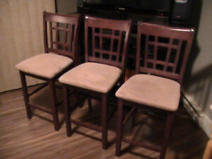 3 Solid Wood Island Chairs