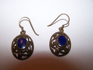 925 Sterling Silver Sodalite Dangle Pierced Style Earrings