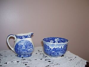 Palissy Blue Thames Creamer and Sugar - Reduced!