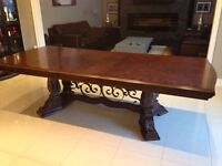 Dark Brown Wood Table with Decorative Wrought Iron Base