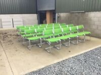Green chrome framed reception chairs