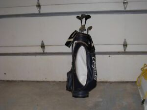 Golf clubs and golf bag.  Very good Agusta leather golf bag.