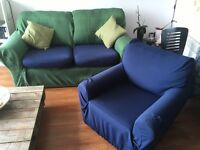 Sofa and armchair with same covers