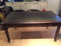 Vintage Writing Desk with green leather top
