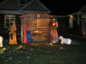 Christmas Outdoor Life size Manger and Nativity scene.