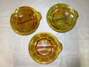 Sectioned Dishes...................Carnival Glass...