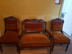 Antique Love Seat with 2 Chairs (Set)