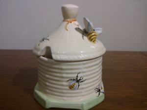 1940s Crown Devon Honey Pot Adorned With Hand Painted Bees