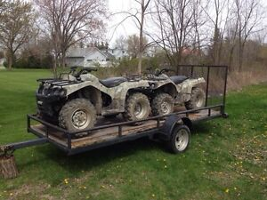 Two 4x4 ATVs on 14 ft trailer