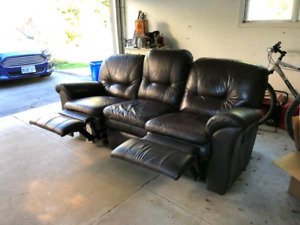 Leather reclining sofa Lazy Boy