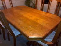 Dining Table (with leaf) with 6 Chairs