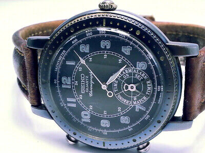 VINTAGE ULTRA-RARE(SEIKO 2-PUSHER CHRONOGRAPH) REF#8M25-8010 MILITARY MENS WATCH
