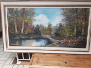 Large Vintage KARL GATERMANN LANDSCAPE OIL PAINTING ON CANVAS.