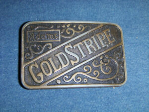VINTAGE ADAMS GOLD STRIPE WHISKEY BELT BUCKLE-COLLECTIBLE!
