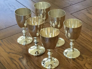 Set of 6 silverplate wine goblets