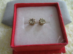 .....A PAIR of FAUX DIAMOND PIERCED EAR-RINGS....[BOXED]...