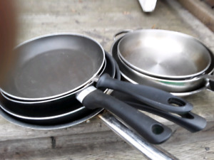 Stainless steel pots     teflon and stainless frying pans