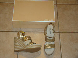 MICHAEL KORS ESPADRILLES WEDGE SANDAL SHOE SIZE 8 NEW IN THE BOX