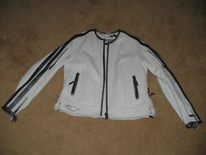 Quality white leather women's bikers jacket