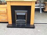 Pine fire surround with Electric fire