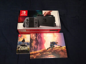 Nintendo Switch Console + Legend of Zelda Game and Guide NEW