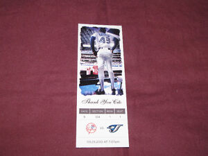 Souvenir 'ticket' from 2010 Blue Jays/Yanks game, honoring Cito