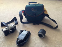 Pentax Camera with Lens, Flash and Camera Case For Sale