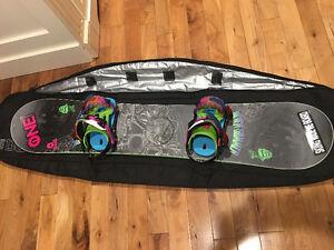 Boys snowboard and bindings