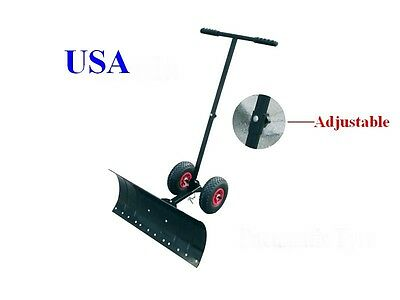 Hand Snow Shovel Thrower Plow Removal Pusher Strip Wheel Clean
