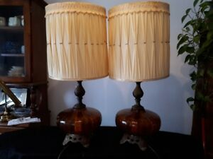 pair of vintage amber glass bottom lamps