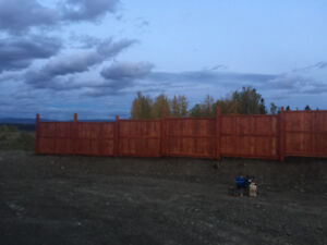 Stained Sierra, 8 panels of 6x8 newly built fir fence for sale