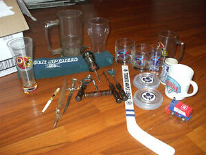 FOR SALE 2 BLUE JAY GLASSES AND SOME OTHER BAR STUFF