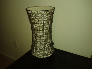 Two Brown Woven Table Lamps