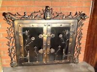 Fireplace metal ornamental Door porte de foyer en metal