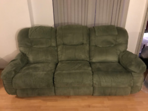 La-Z-Boy Green Suede Recliner Couch. Price Negotiable.