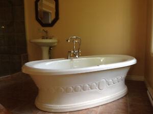 Bain thérapeutique autoportant, robinetterie,lavabo presque neuf