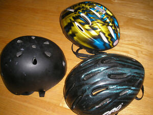 3 Child's Bike Helmets, As pictured and described below.